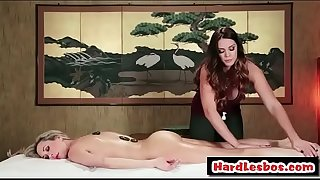 Alison Tyler & Brandi Love - Amazing lesbians have fun on the massage table