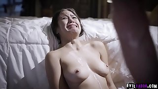 Crying exploited stepdaughter Kendra Spade sopping in sperm!