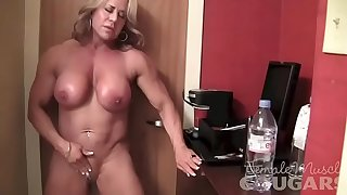 Mature Female Bodybuilder Poses and Masturbates